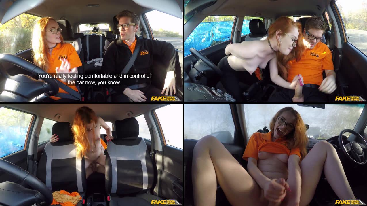 FakeDrivingSchool – Ella Hughes – Nerdy Ginger Seduces Instructor